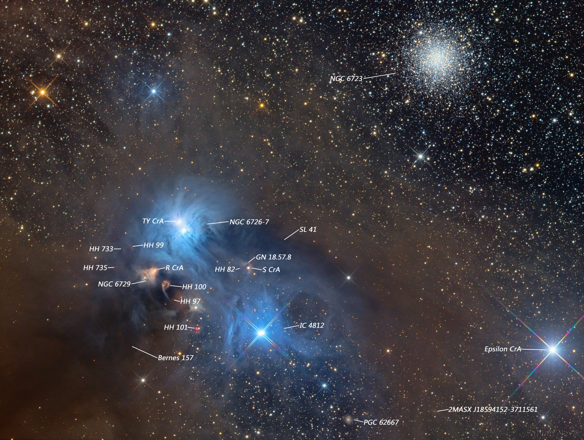 Corona Australis Nebula Labeled